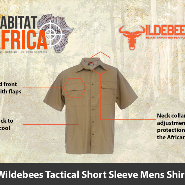 Wildebees Tactical Short Sleeve Mens Shirt - Safari