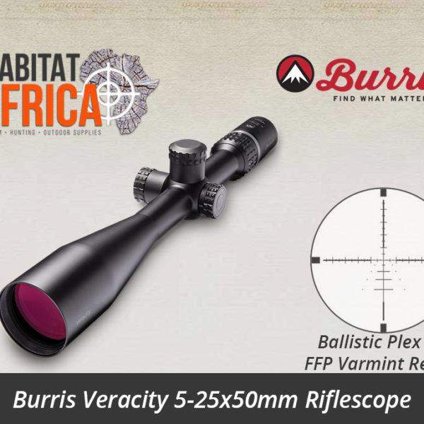Burris Veracity 5-25x50mm Riflescope E1 Ballistic Plex FFP Varmint Reticle