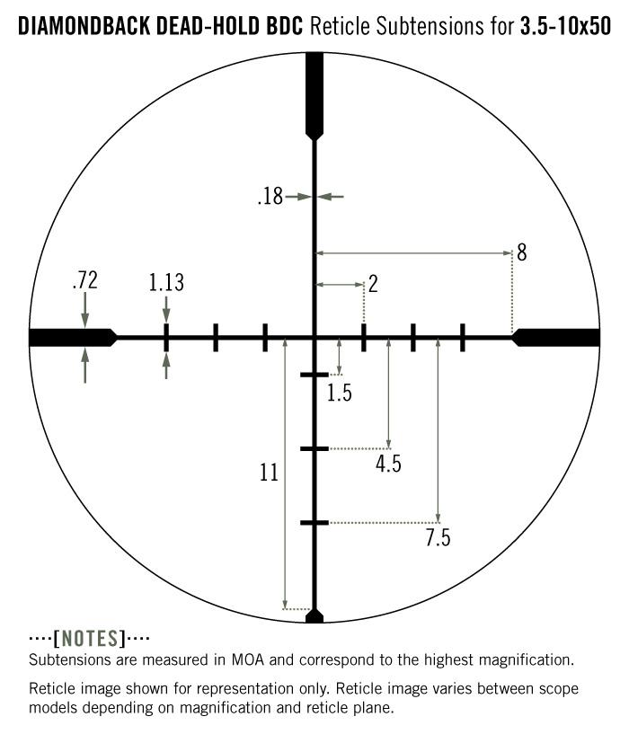 Vortex DiamondBack 3.5-10x50 Riflescope Dead-Hold BDC MOA Reticle Subtensions