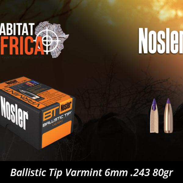 Nosler Ballistic Tip Varmint 6mm 243 80gr Bullets