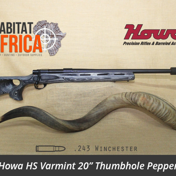 Howa HS Varmint 20 inch 243 Winchester Blued Thumbhole Pepper Laminate Rifle - Habitat Africa | Gun Shop | South Africa