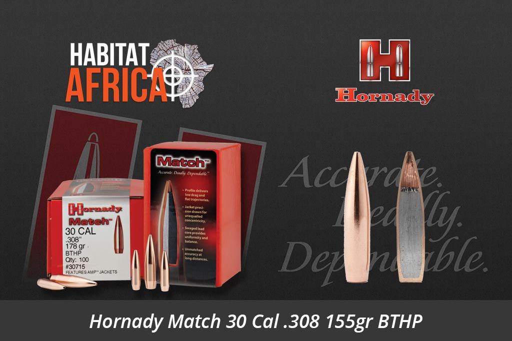 Hornady Match 30 Cal 308 155gr BTHP Bullets 100pts
