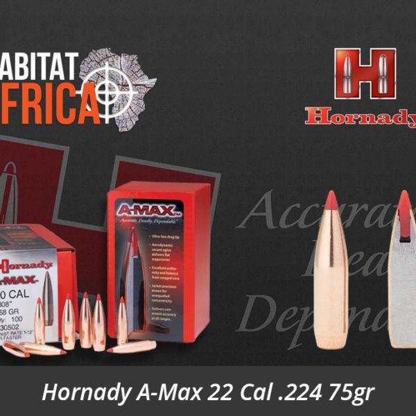 Hornady A-Max 22 Cal 224 75gr Bullets