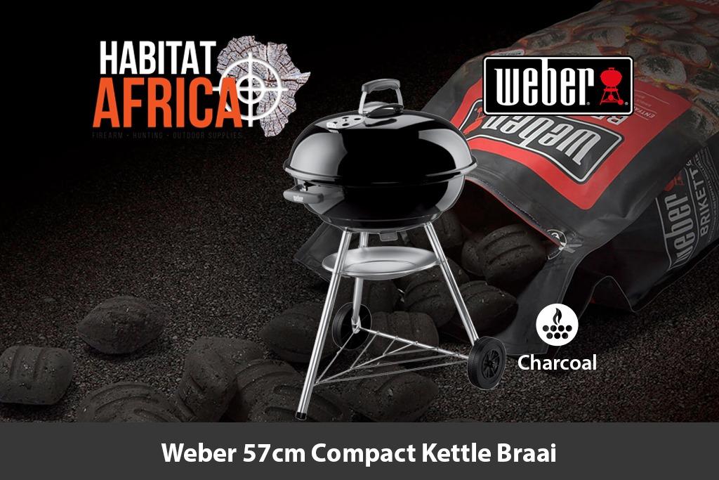 Weber Holzkohlegrill Compact Kettle 57 Cm : Weber 57cm compact kettle braai habitat africa camping & outdoor