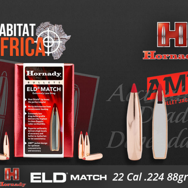 Hornady ELD Match 22 Cal 88 grain Bullets Habitat Africa