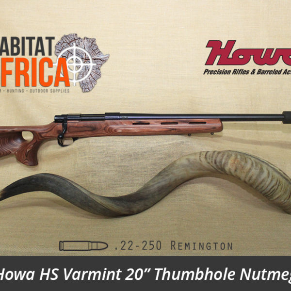 Howa HS Varmint 20 inch 22 250 Remington Blued Thumbhole Nutmeg Laminate Rifle - Habitat Africa | Gun Shop | South Africa