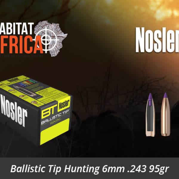Nosler Ballistic Tip Hunting 6mm 243 95gr Bullets 50pts - Habitat Africa | Gun Shop | South Africa