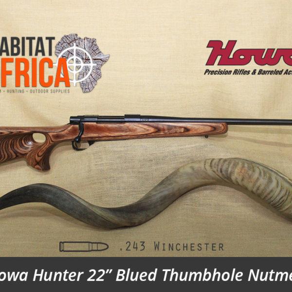 Howa Hunter 22 inch 243 Winchester Blued Thumbhole Nutmeg Laminate Rifle - Habitat Africa | Gun Shop | South Africa