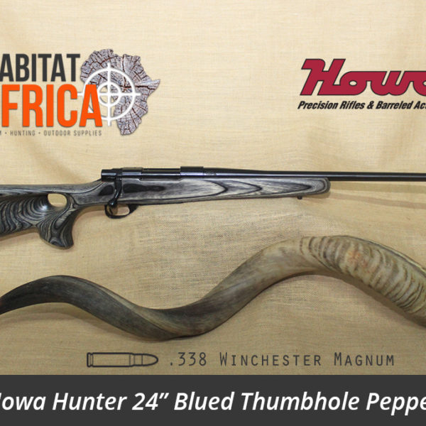 Howa Hunter 24 inch 338 Win Mag Blued Thumbhole Pepper Laminate Rifle - Habitat Africa | Gun Shop | South Africa