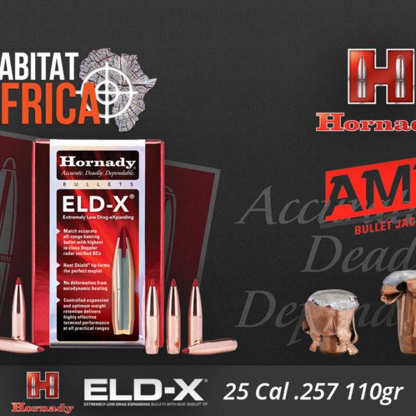 Hornady ELD-X 25 Cal 110 grain Bullets Habitat Africa